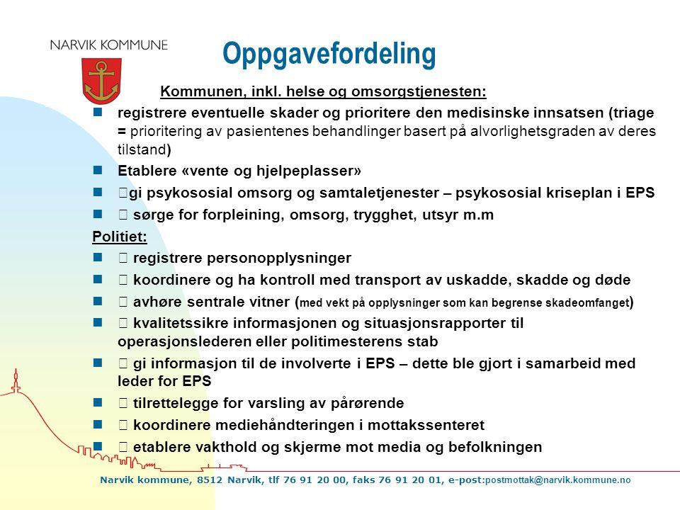 Oppgavefordeling Kommunen, inkl. helse og omsorgstjenesten: