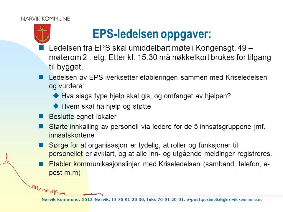EPS-ledelsen oppgaver: