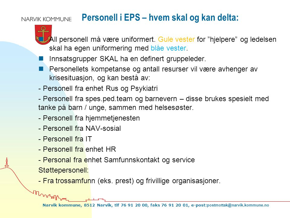 Personell i EPS – hvem skal og kan delta: