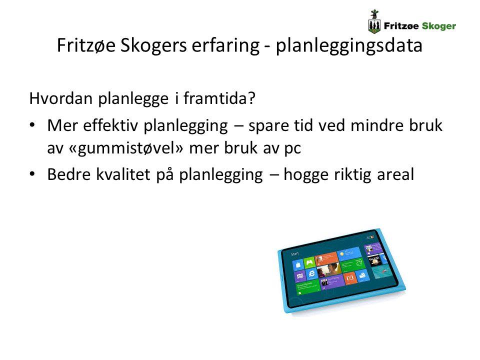 Fritzøe Skogers erfaring - planleggingsdata