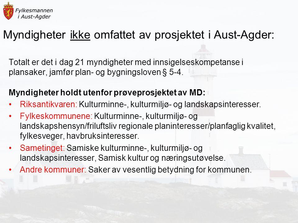 Myndigheter ikke omfattet av prosjektet i Aust-Agder: