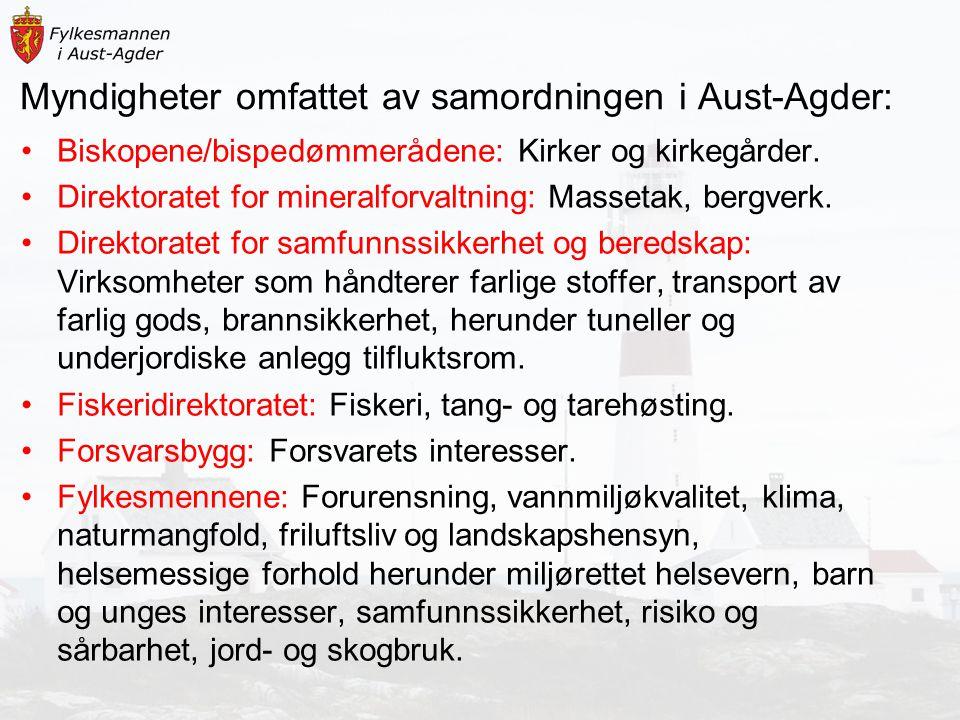 Myndigheter omfattet av samordningen i Aust-Agder: