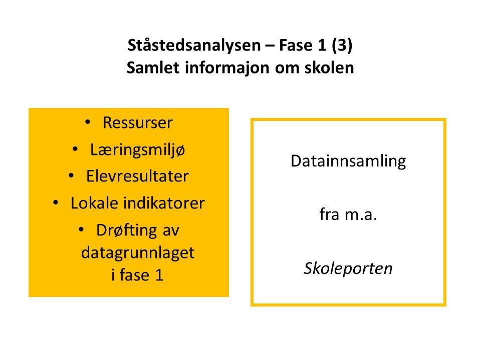 Ståstedsanalysen – Fase 1 (3) Samlet informajon om skolen