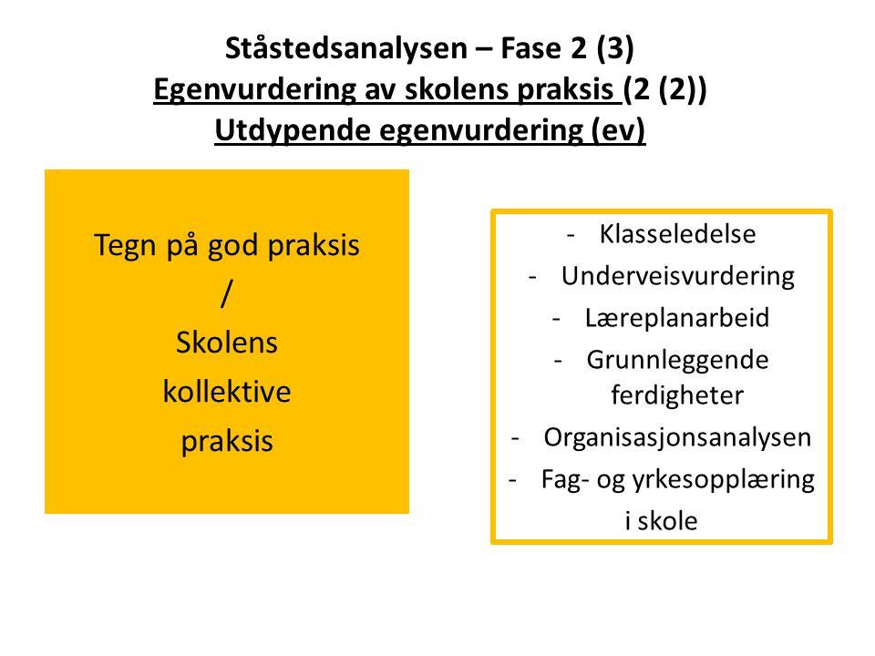 Ståstedsanalysen – Fase 2 (3) Egenvurdering av skolens praksis (2 (2)) Utdypende egenvurdering (ev)