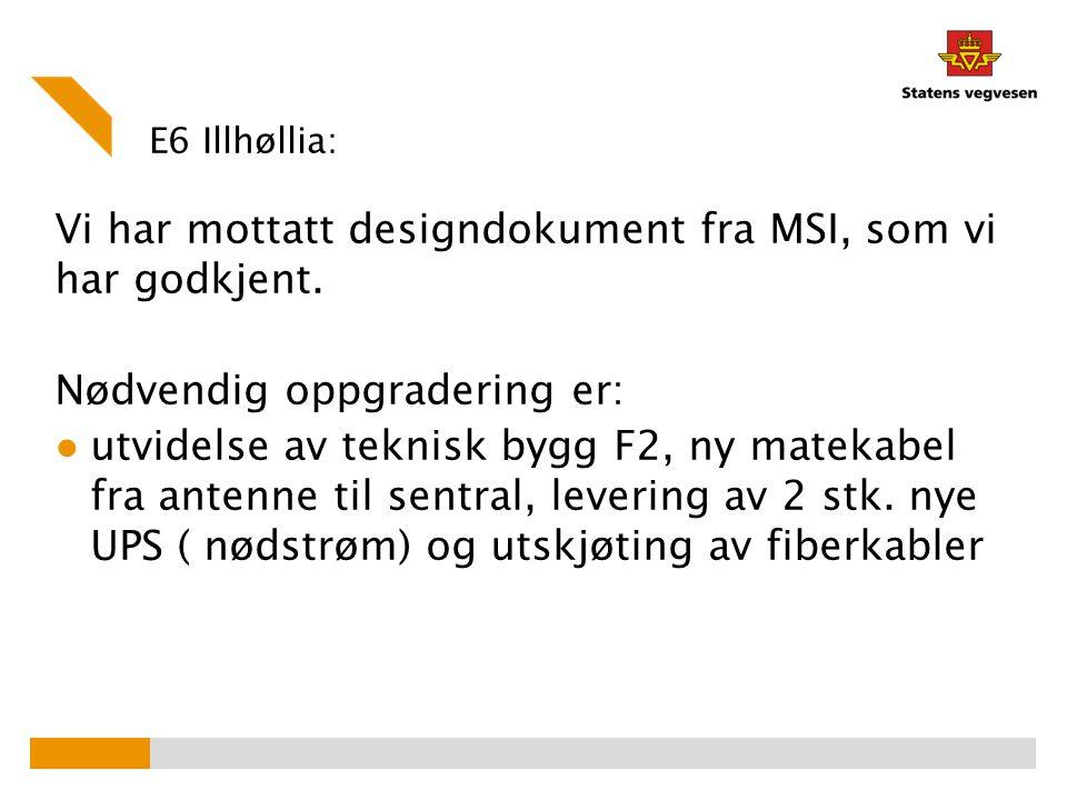 Vi har mottatt designdokument fra MSI, som vi har godkjent.