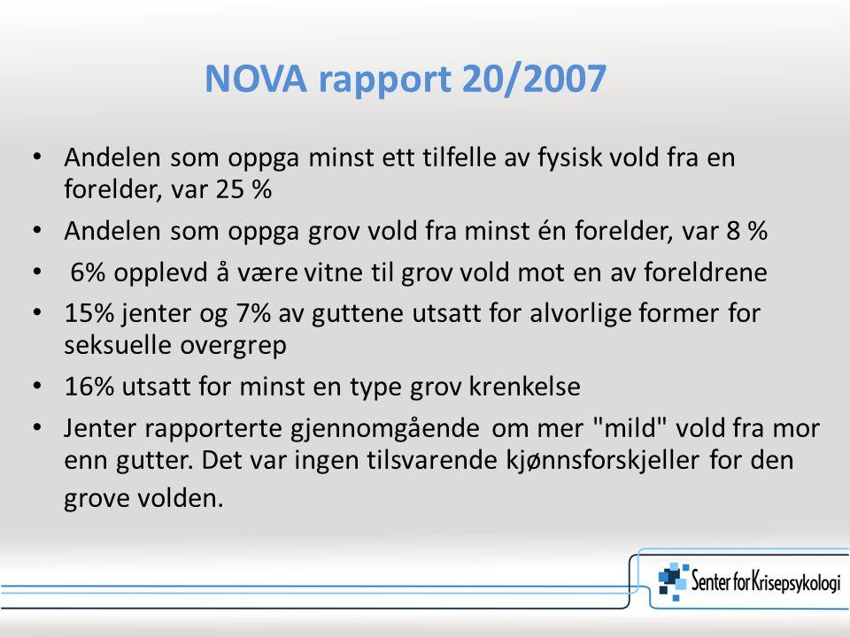 NOVA rapport 20/2007 Andelen som oppga minst ett tilfelle av fysisk vold fra en forelder, var 25 %