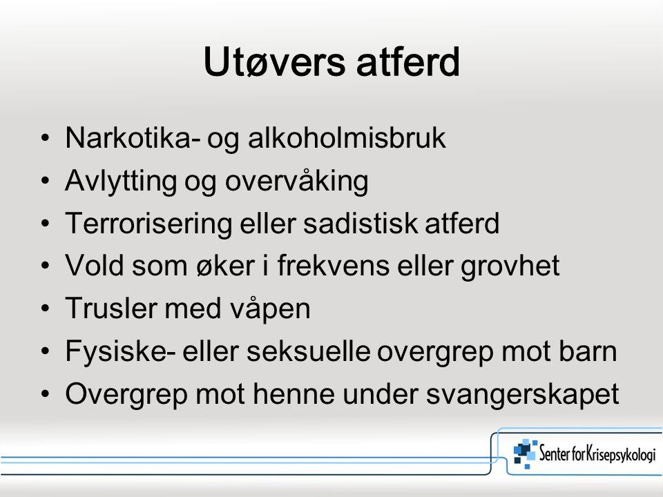 Utøvers atferd Narkotika- og alkoholmisbruk Avlytting og overvåking
