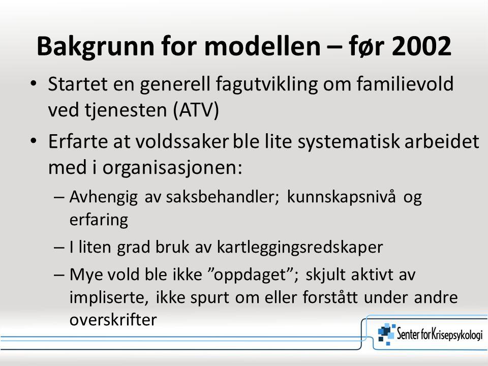 Bakgrunn for modellen – før 2002