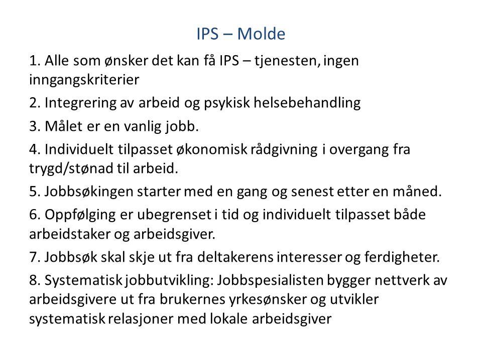 IPS – Molde 1. Alle som ønsker det kan få IPS – tjenesten, ingen inngangskriterier. 2. Integrering av arbeid og psykisk helsebehandling.