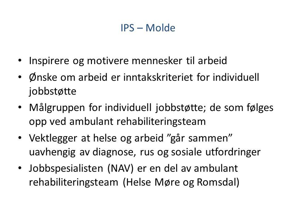 IPS – Molde Inspirere og motivere mennesker til arbeid. Ønske om arbeid er inntakskriteriet for individuell jobbstøtte.