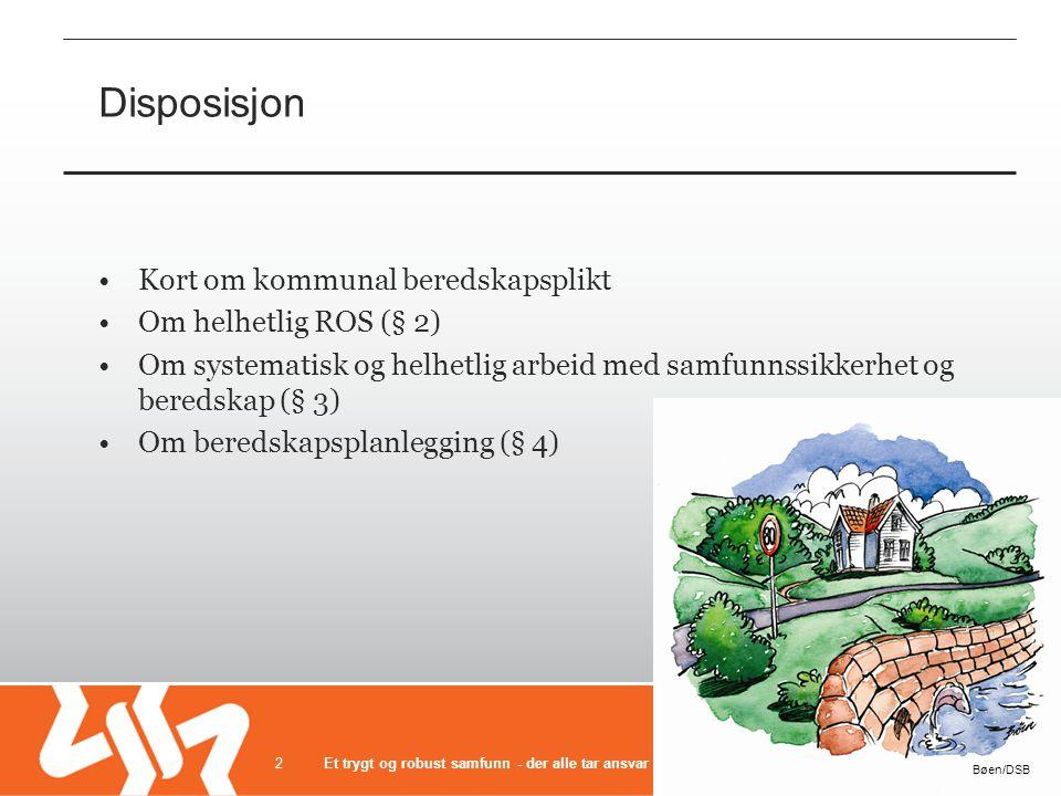 Disposisjon Kort om kommunal beredskapsplikt Om helhetlig ROS (§ 2)