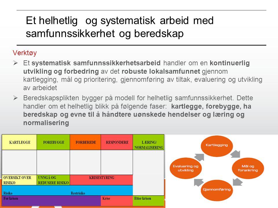 Et helhetlig og systematisk arbeid med samfunnssikkerhet og beredskap