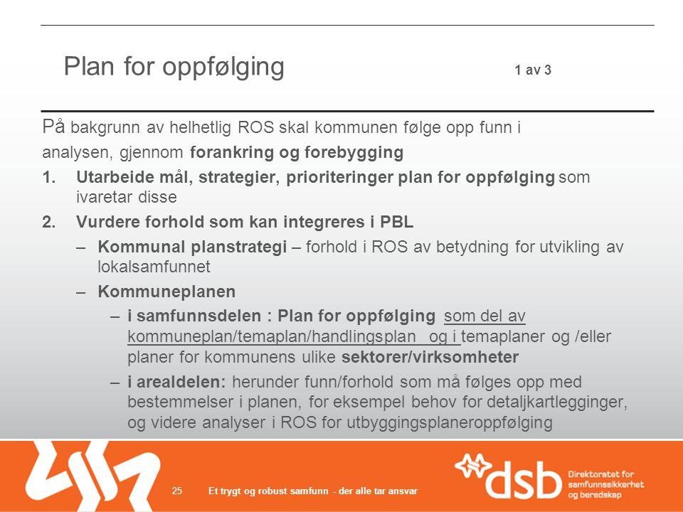 Plan for oppfølging 1 av 3 På bakgrunn av helhetlig ROS skal kommunen følge opp funn i.