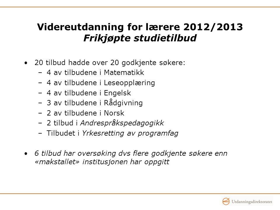 Videreutdanning for lærere 2012/2013 Frikjøpte studietilbud