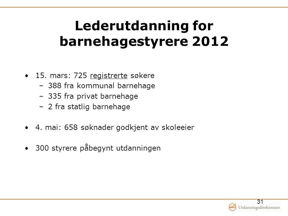Lederutdanning for barnehagestyrere 2012