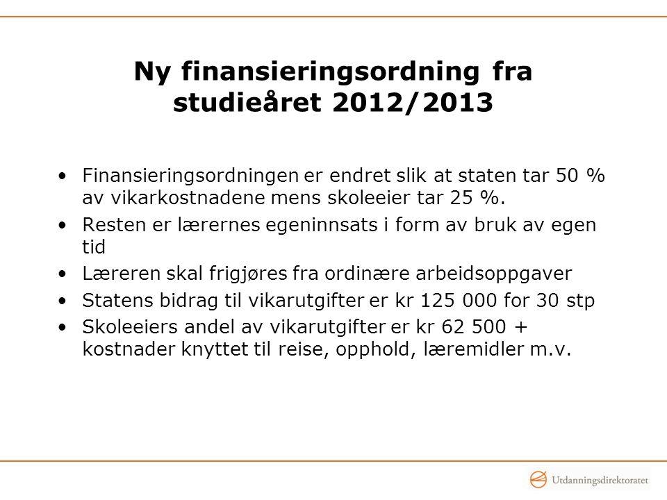Ny finansieringsordning fra studieåret 2012/2013