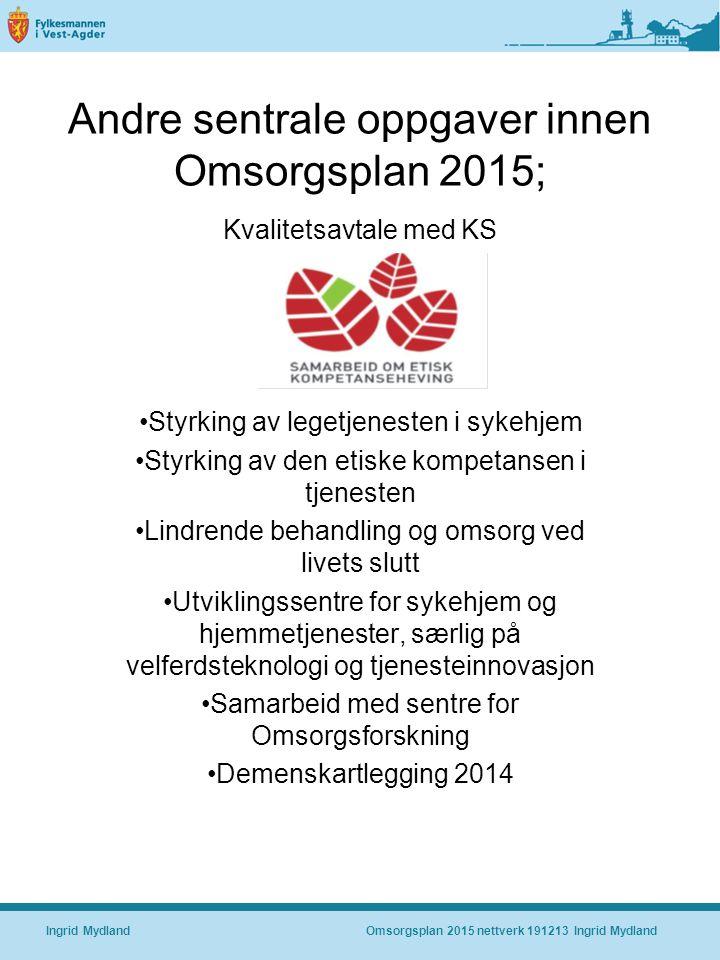 Andre sentrale oppgaver innen Omsorgsplan 2015;