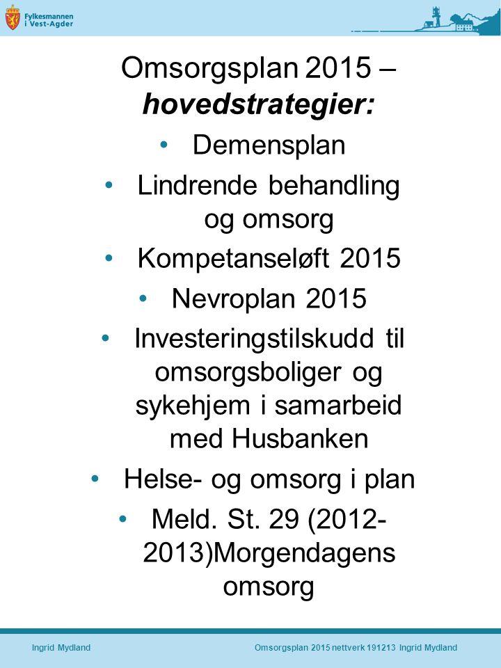 Omsorgsplan 2015 – hovedstrategier: