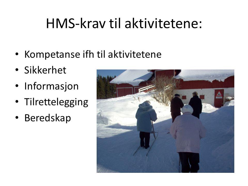 HMS-krav til aktivitetene: