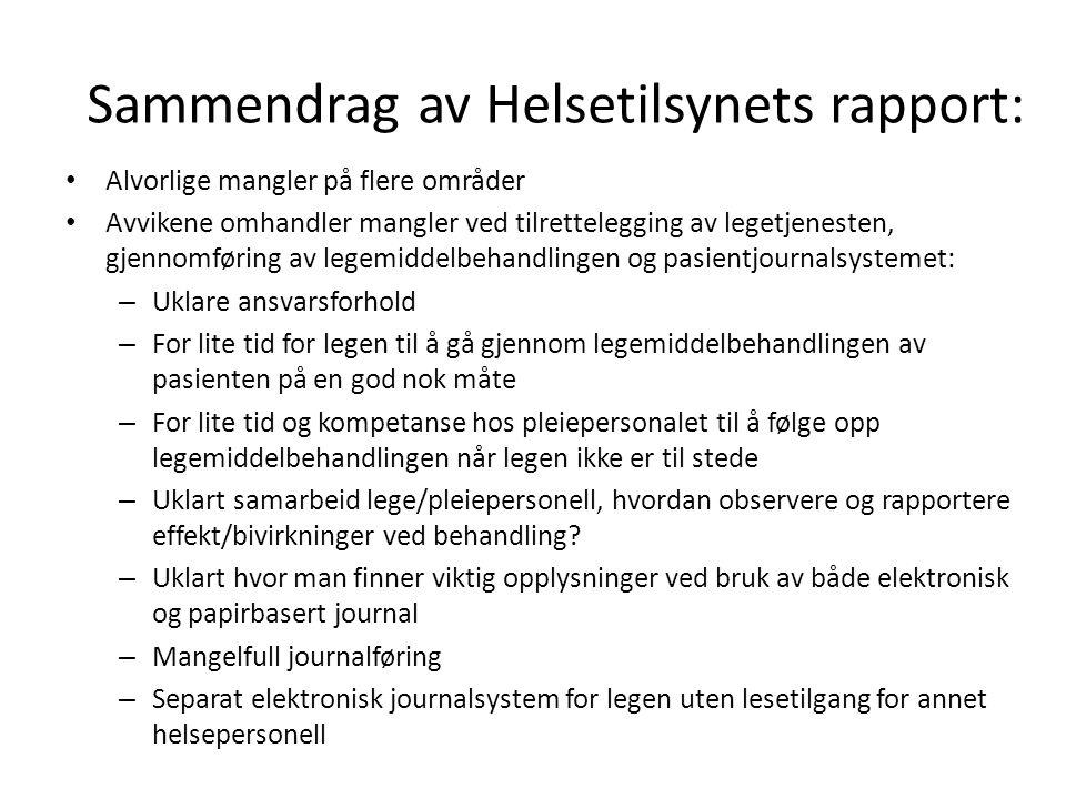 Sammendrag av Helsetilsynets rapport: