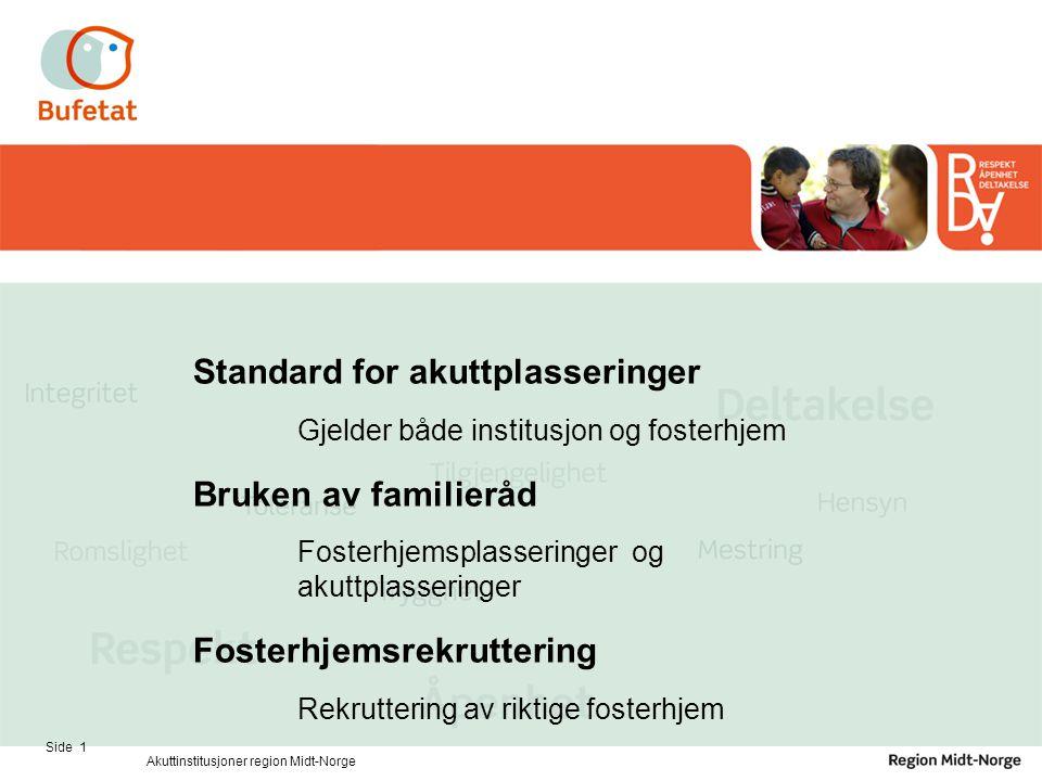 Standard for akuttplasseringer Gjelder både institusjon og fosterhjem