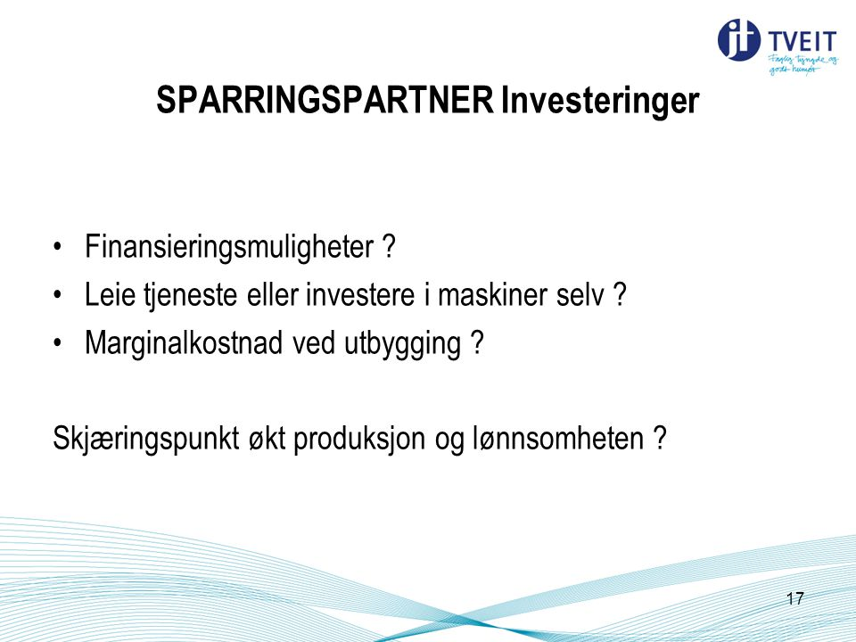SPARRINGSPARTNER Investeringer