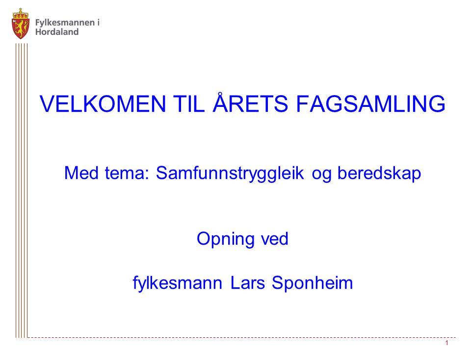 VELKOMEN TIL ÅRETS FAGSAMLING Med tema: Samfunnstryggleik og beredskap Opning ved fylkesmann Lars Sponheim