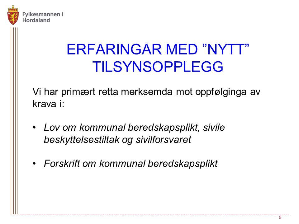 ERFARINGAR MED NYTT TILSYNSOPPLEGG