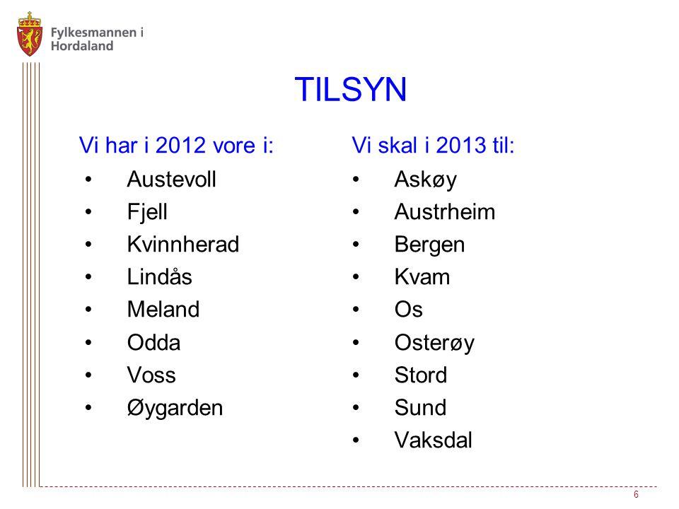 TILSYN Vi har i 2012 vore i: Vi skal i 2013 til: Austevoll Fjell