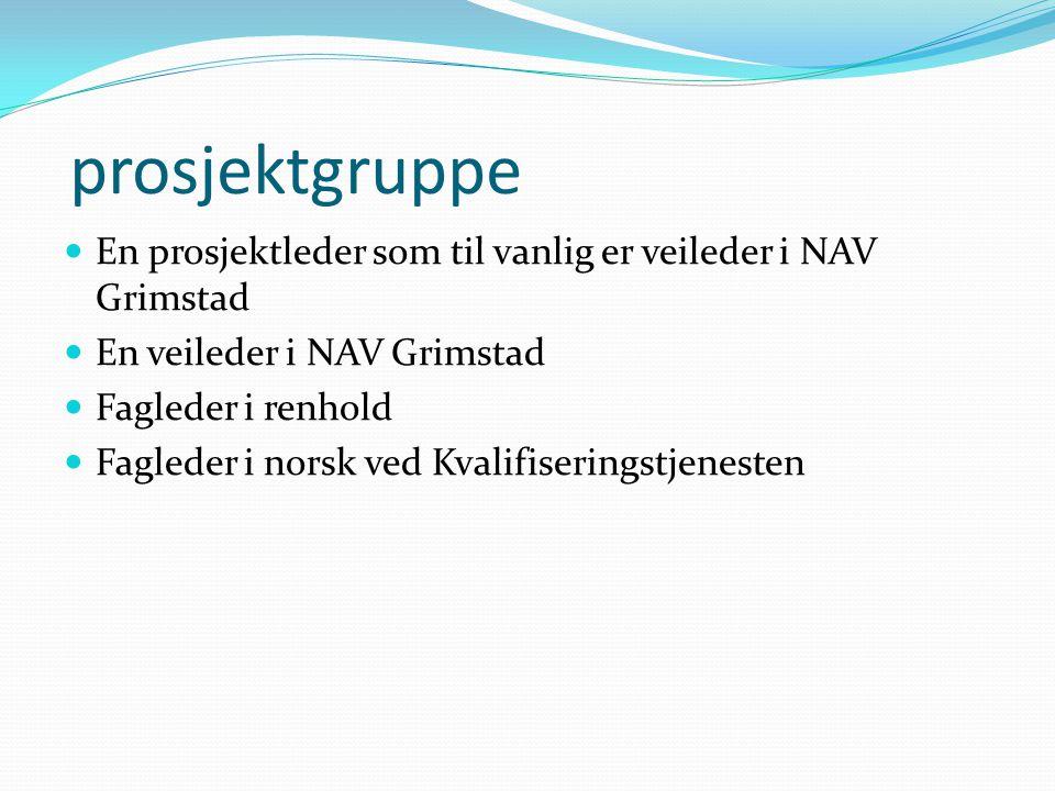 prosjektgruppe En prosjektleder som til vanlig er veileder i NAV Grimstad. En veileder i NAV Grimstad.