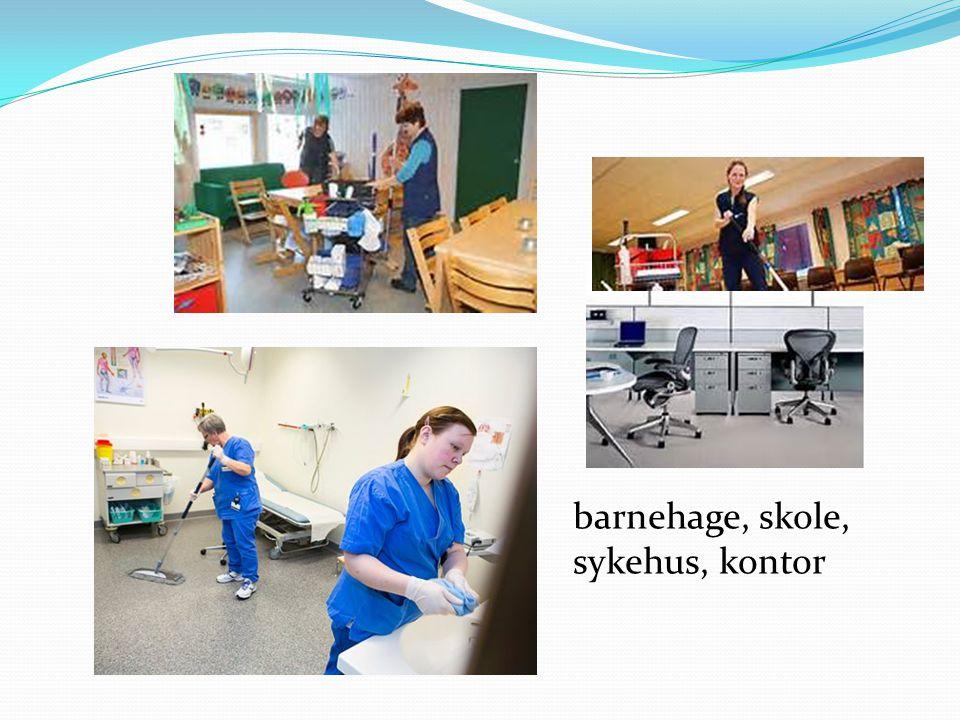 barnehage, skole, sykehus, kontor