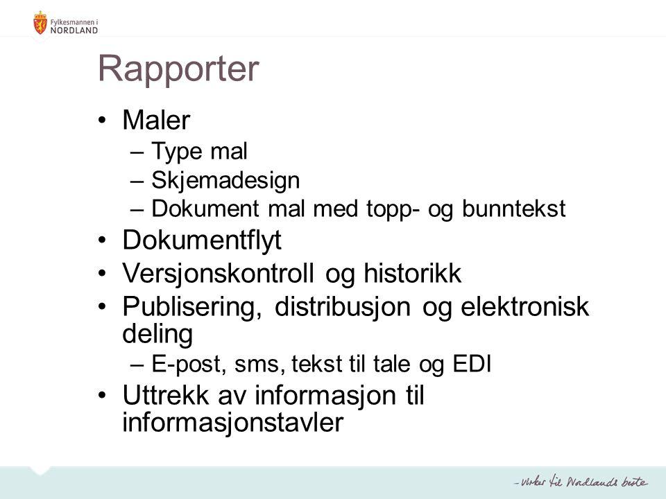 Rapporter Maler Dokumentflyt Versjonskontroll og historikk