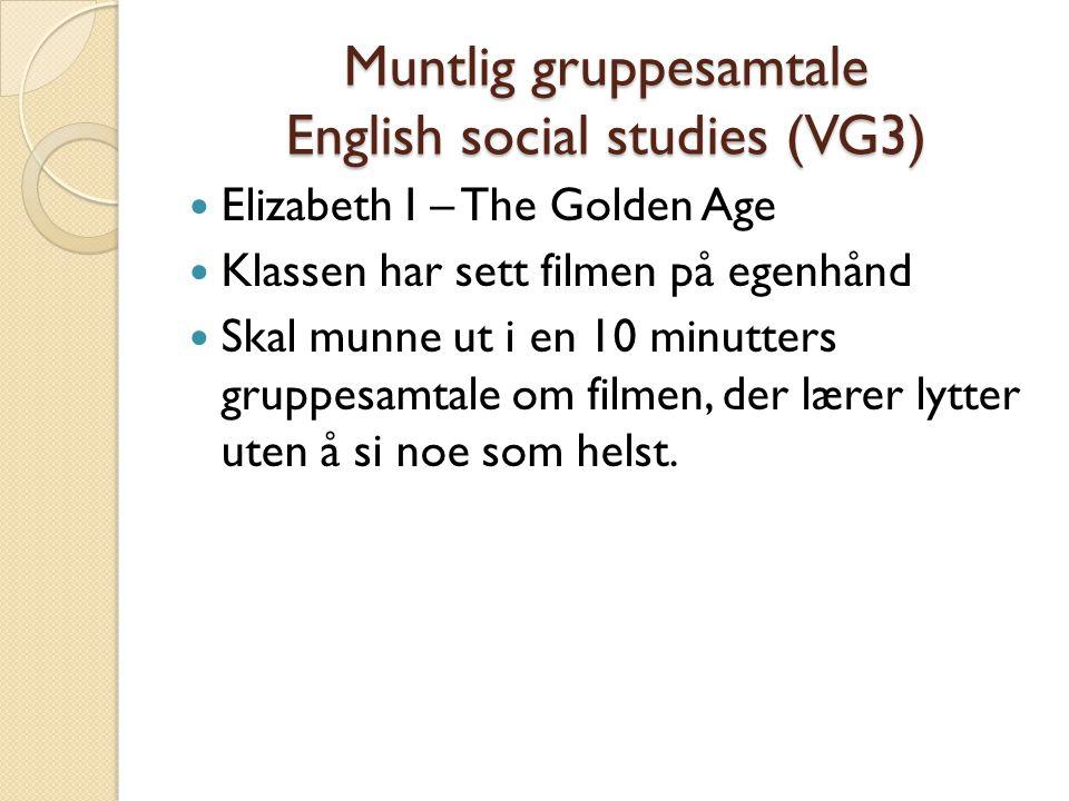 Muntlig gruppesamtale English social studies (VG3)