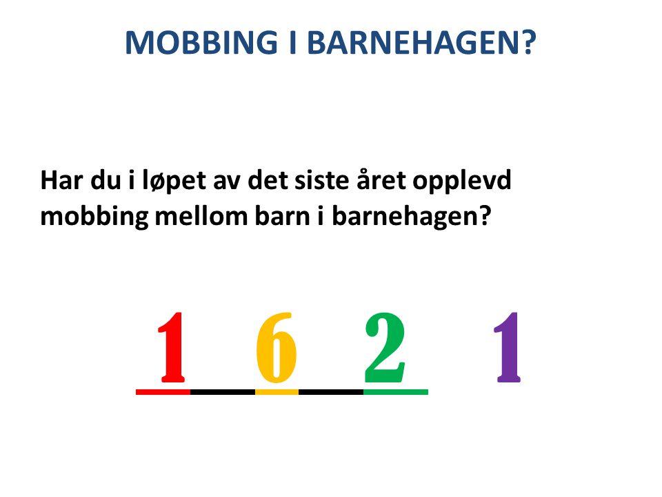 MOBBING I BARNEHAGEN Har du i løpet av det siste året opplevd mobbing mellom barn i barnehagen