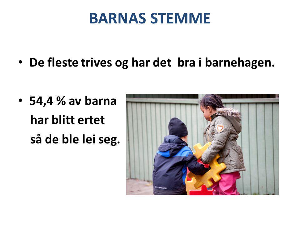 BARNAS STEMME De fleste trives og har det bra i barnehagen.