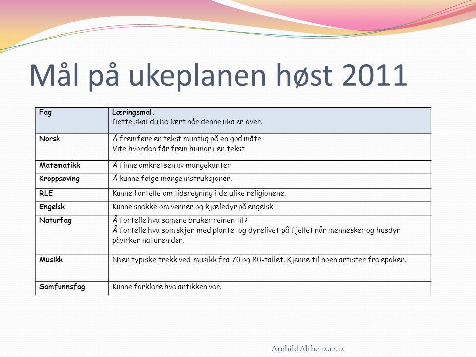 Mål på ukeplanen høst 2011 Arnhild Althe 12.12.12 Fag Læringsmål.