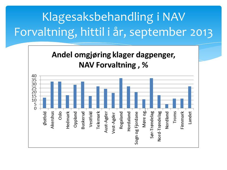 Klagesaksbehandling i NAV Forvaltning, hittil i år, september 2013