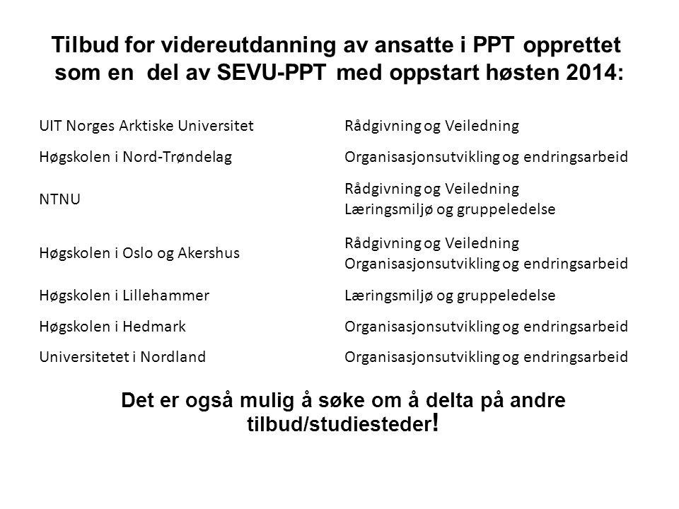 Tilbud for videreutdanning av ansatte i PPT opprettet