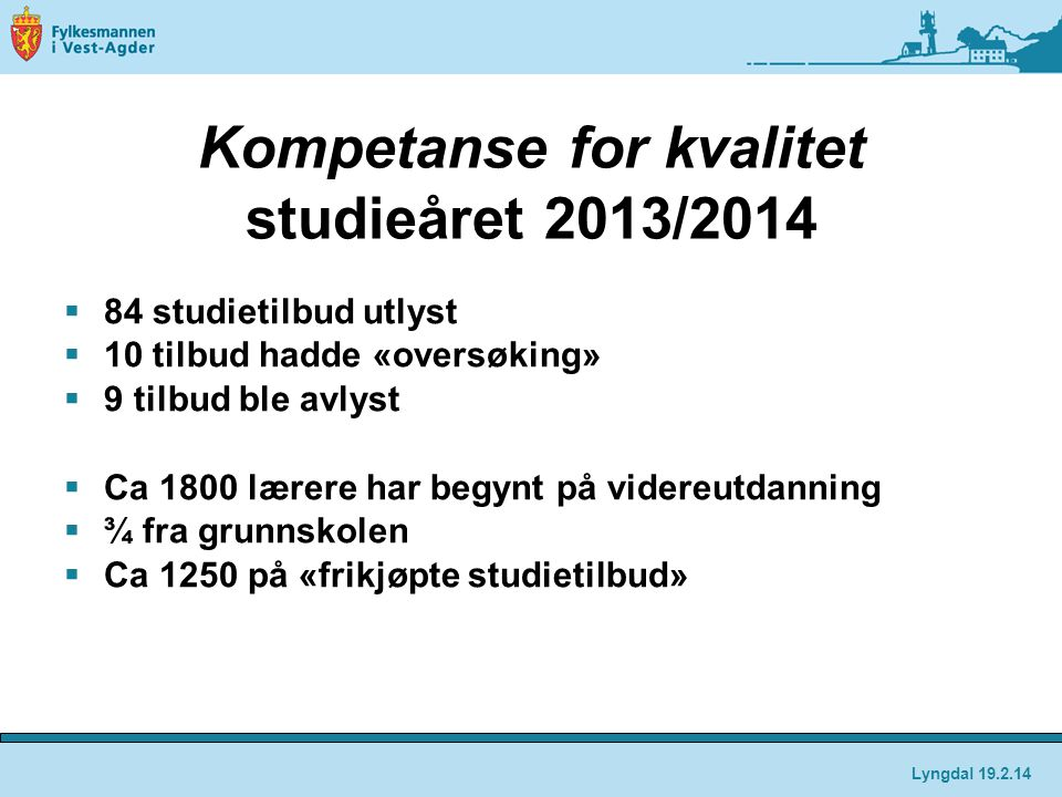 Kompetanse for kvalitet studieåret 2013/2014