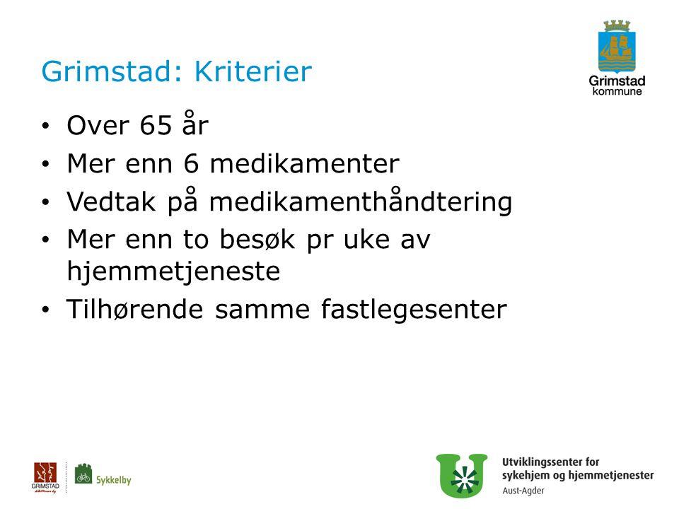 Grimstad: Kriterier Over 65 år Mer enn 6 medikamenter