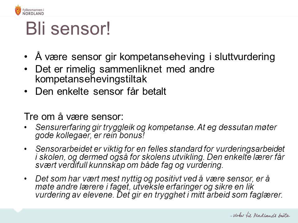Bli sensor! Å være sensor gir kompetanseheving i sluttvurdering