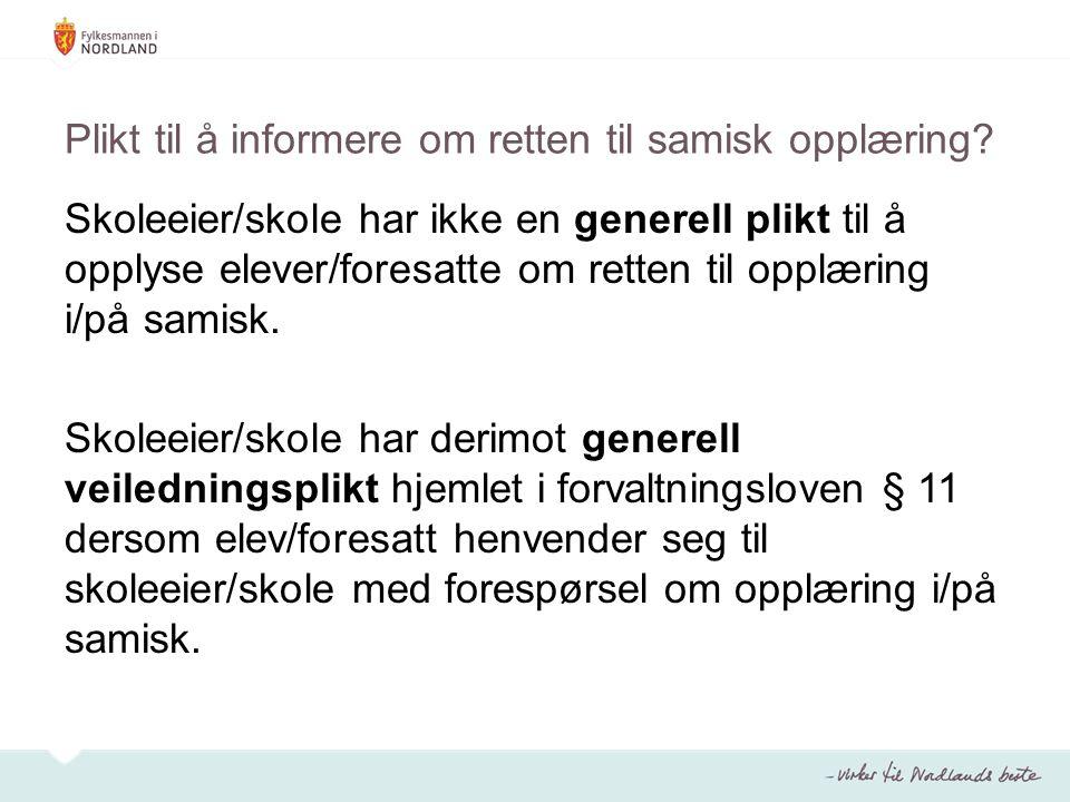 Plikt til å informere om retten til samisk opplæring