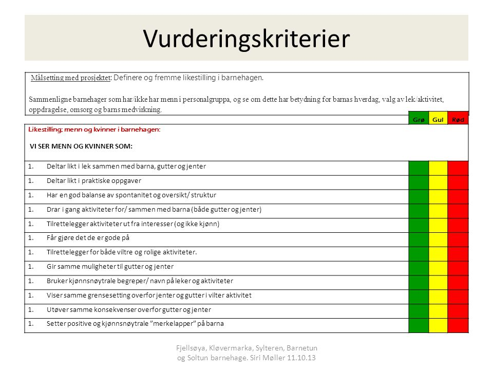 Vurderingskriterier Målsetting med prosjektet: Definere og fremme likestilling i barnehagen.