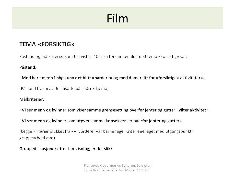 Film Fjellsøya, Kløvermarka, Sylteren, Barnetun og Soltun barnehage. Siri Møller 11.10.13