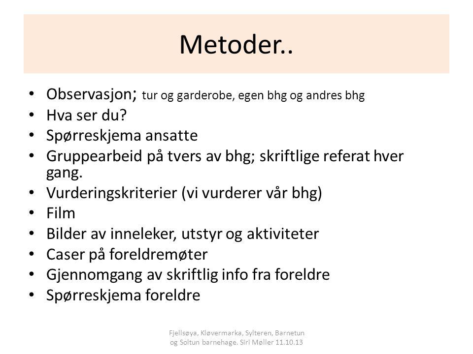 Metoder.. Observasjon; tur og garderobe, egen bhg og andres bhg