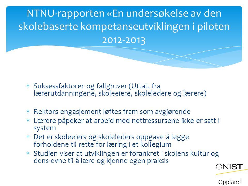 NTNU-rapporten «En undersøkelse av den skolebaserte kompetanseutviklingen i piloten 2012-2013