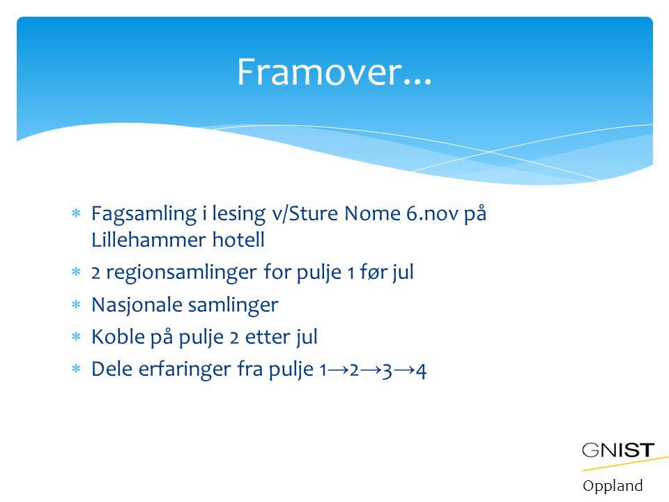 Framover... Fagsamling i lesing v/Sture Nome 6.nov på Lillehammer hotell. 2 regionsamlinger for pulje 1 før jul.