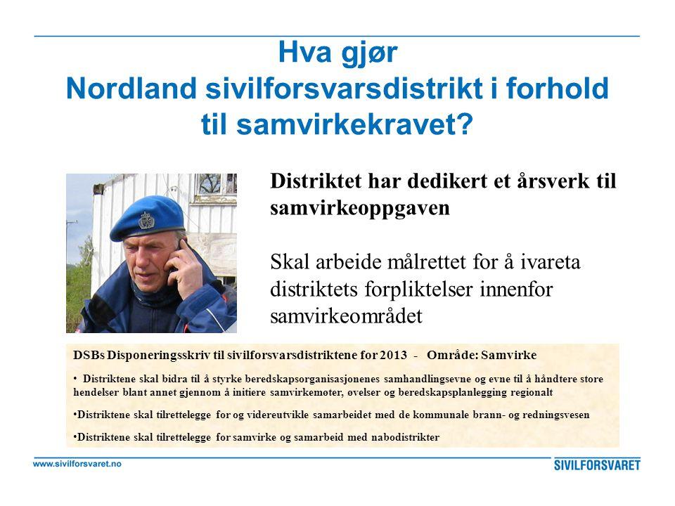 Hva gjør Nordland sivilforsvarsdistrikt i forhold til samvirkekravet