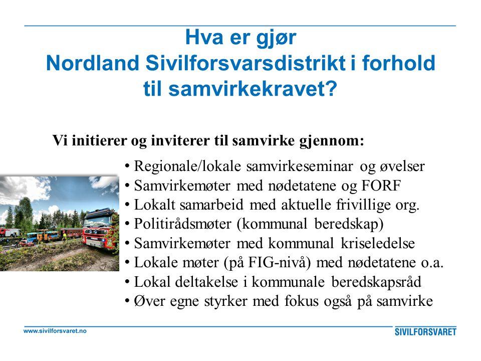 Hva er gjør Nordland Sivilforsvarsdistrikt i forhold til samvirkekravet
