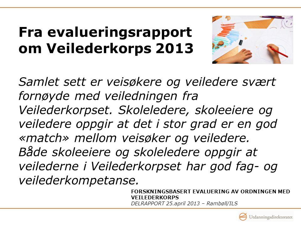 Fra evalueringsrapport om Veilederkorps 2013